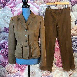 Anne Klein 2-piece brown vegan suede jacket/pants